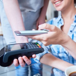 paying with mobile wallet on smart phone